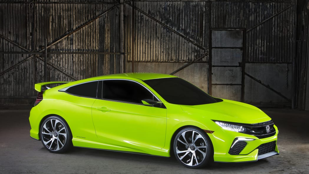 Honda Civic Coupe Concept in green in warehouse
