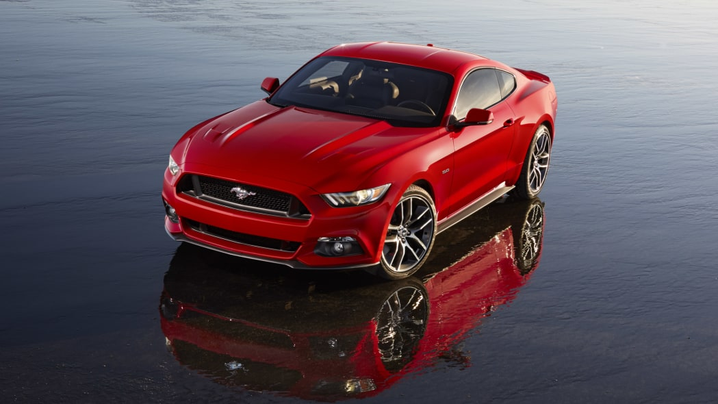 2015 Ford Mustang in red with reflection