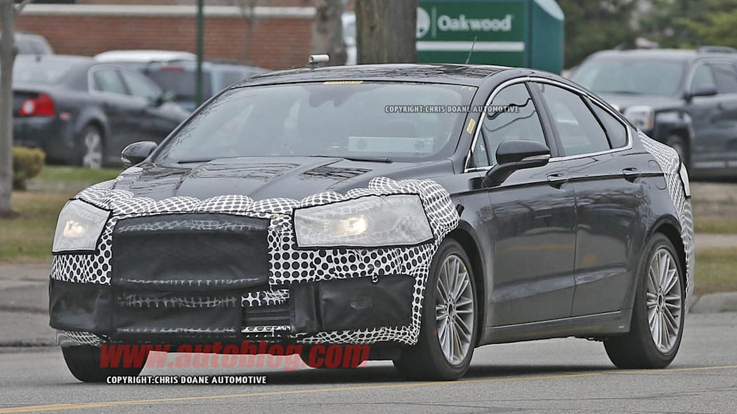 camouflaged 2017 ford fusion spy shot front