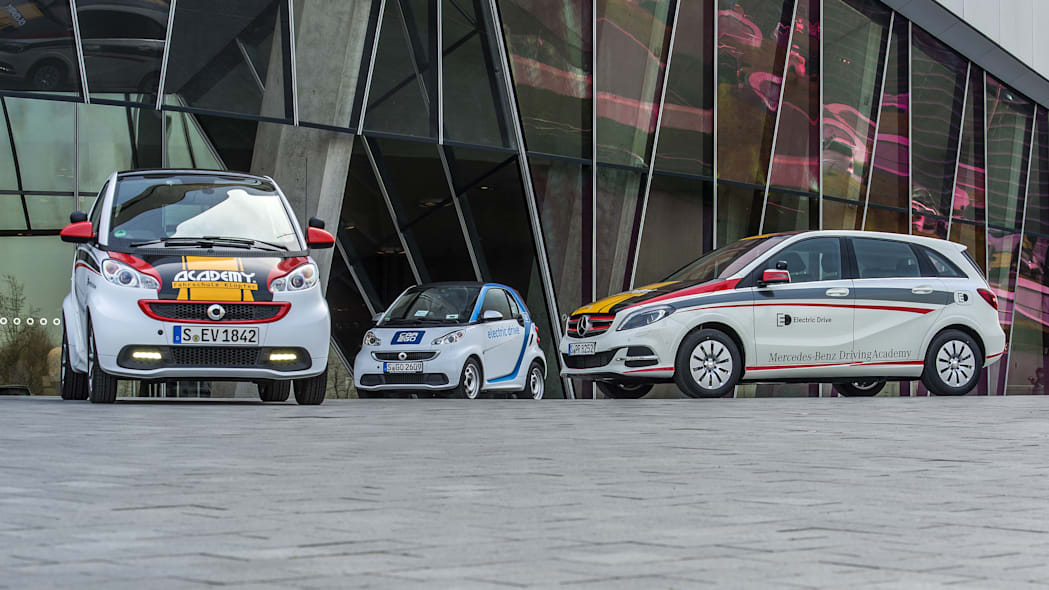 Mercedes-Benz B-Class Electric Drive and smart fortwo electric drive driving school EVs