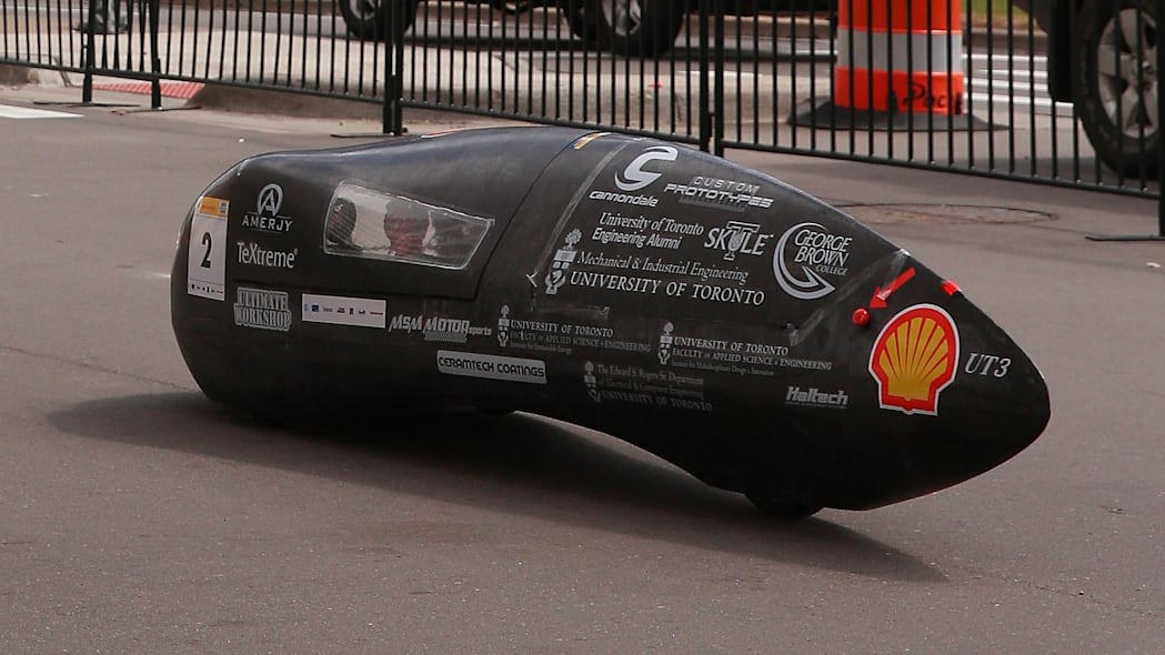Canadian black Prototype on track at the 2015 Shell Eco-Marathon