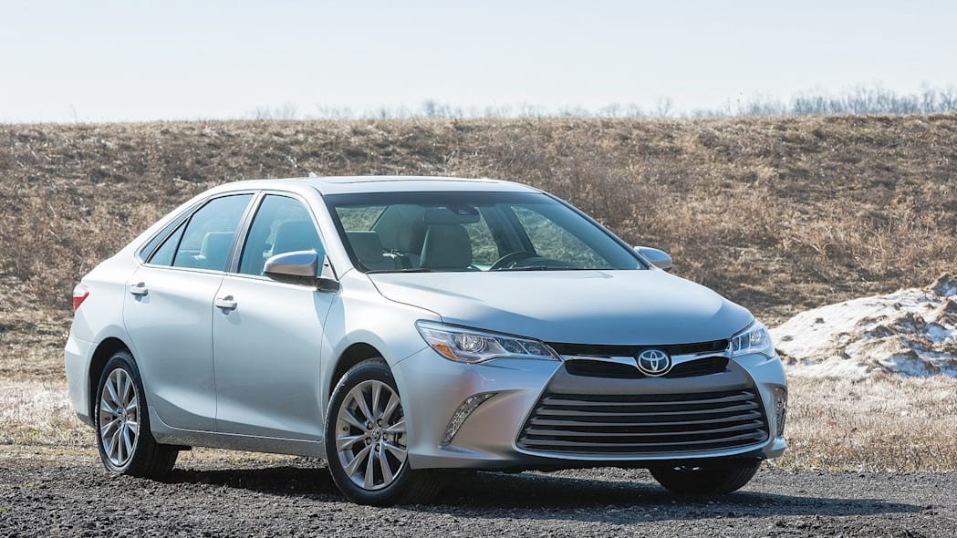 Toyota Camry in silver in the desert