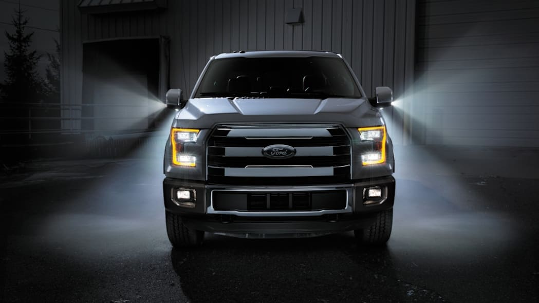 Ford F-150 at night with lights