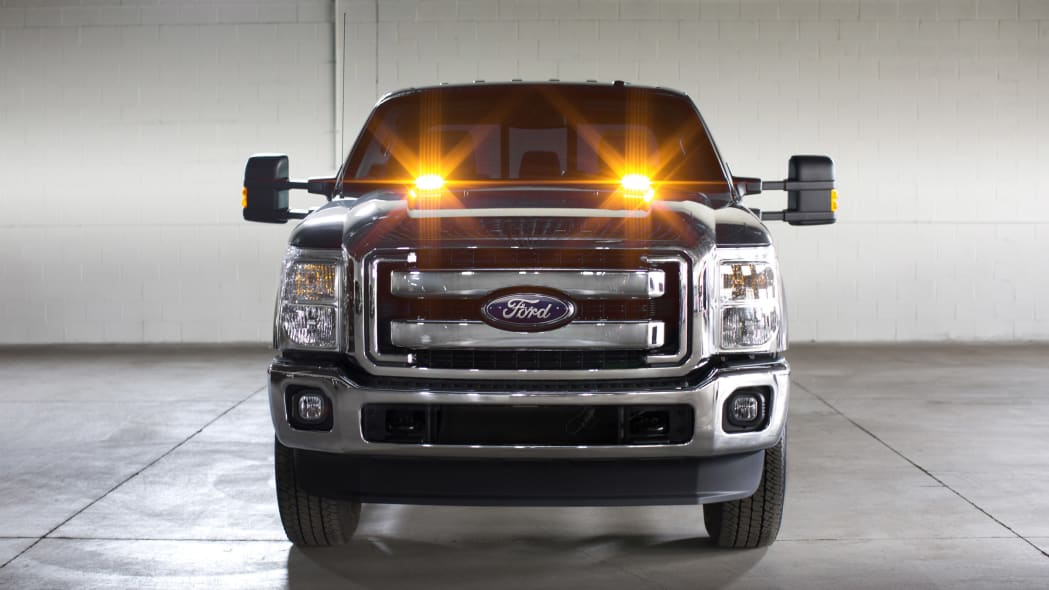 Ford F-Series Super Duty with LED strobe lights front