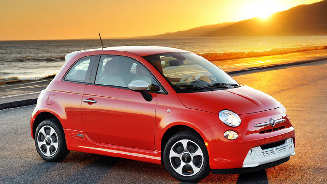 Fiat 500e at sunset
