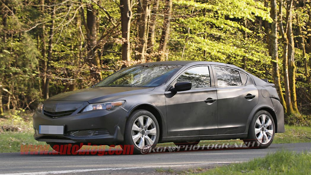 black honda civic five-door spy shots front three quarters