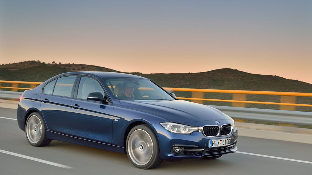 blue 2016 bmw 3 series refresh three quarters