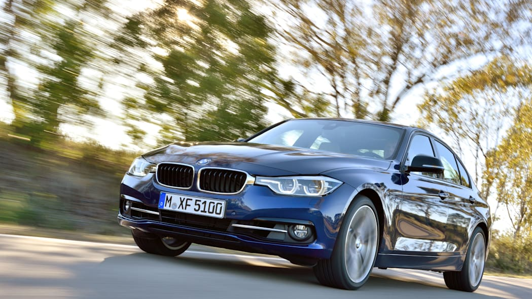 blue 2016 bmw 3 series refresh low angle