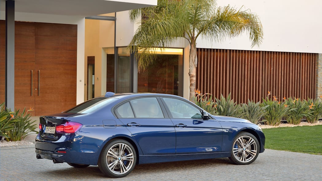 blue 2016 bmw 3 series refresh side rear