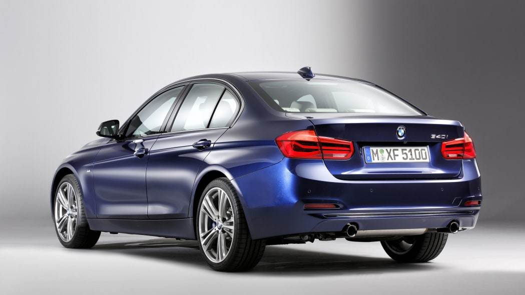 blue 2016 bmw 3 series refresh studio shot rear