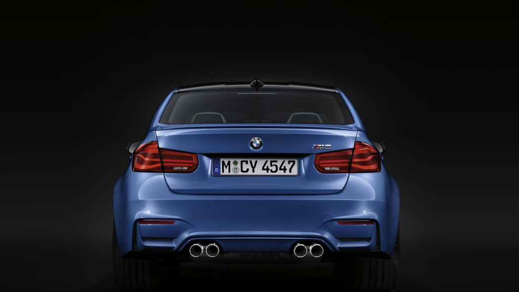 blue 2016 bmw m3 rear and exhaust