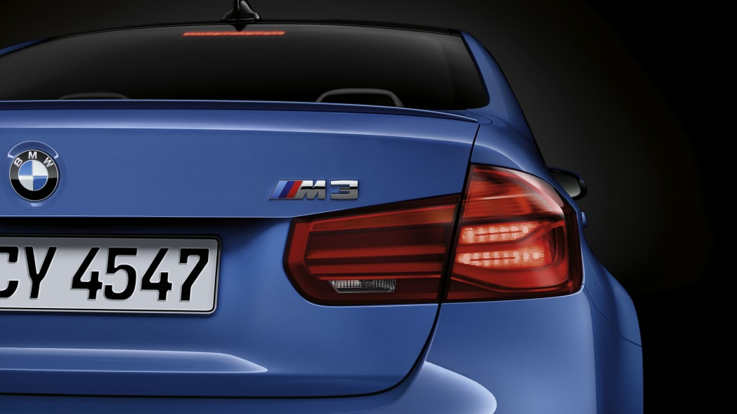 blue 2016 bmw m3 taillight detail stopping