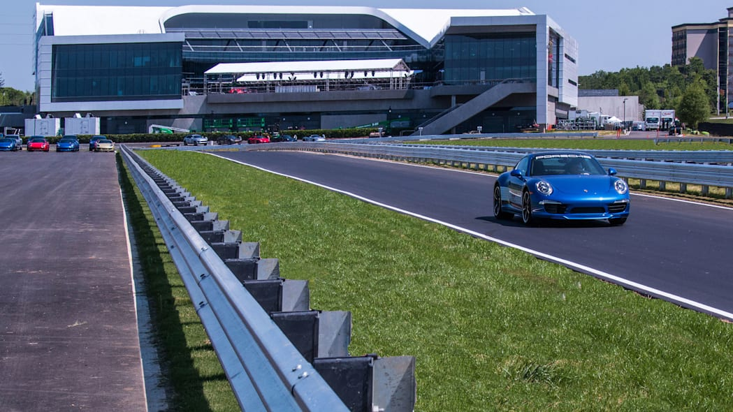 porsche experience center track and building