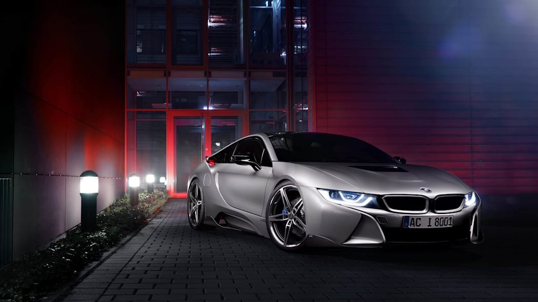 BMW i8 by AC Schnitzer parked night front 3/4
