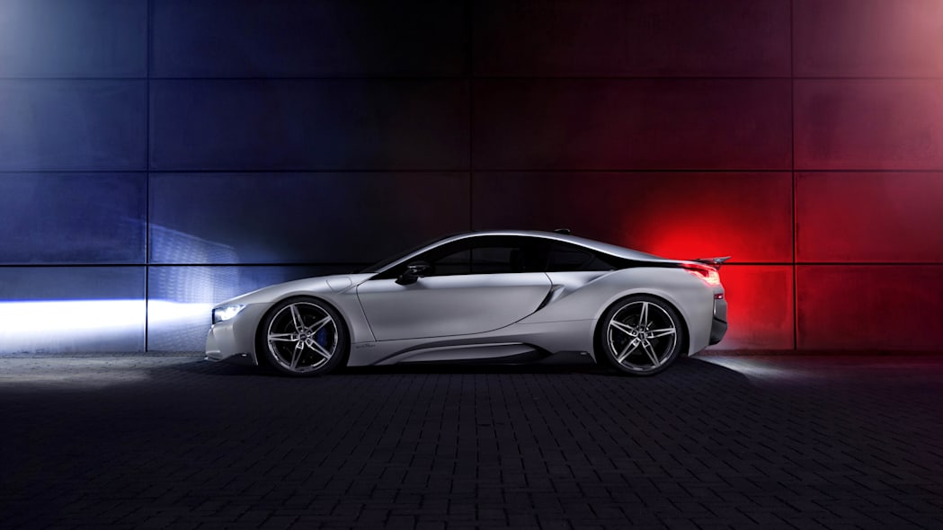 BMW i8 by AC Schnitzer parked night side lights