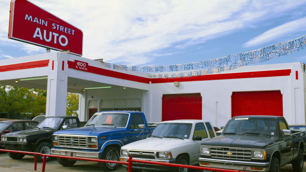Trucks in used car lot, Roswell, New Mexico