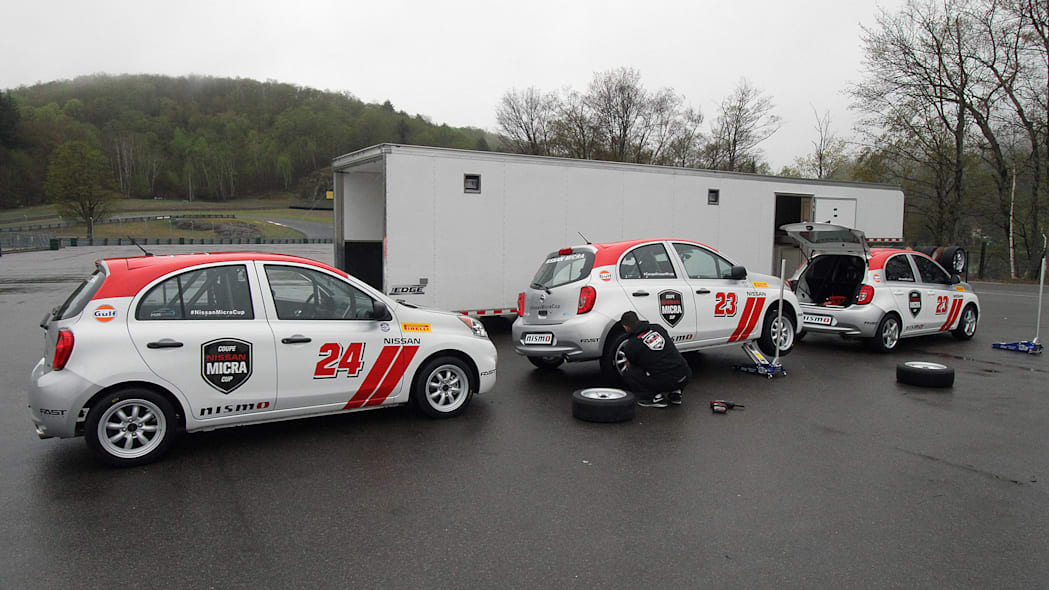 2015 Nissan Micra Cup in the pits