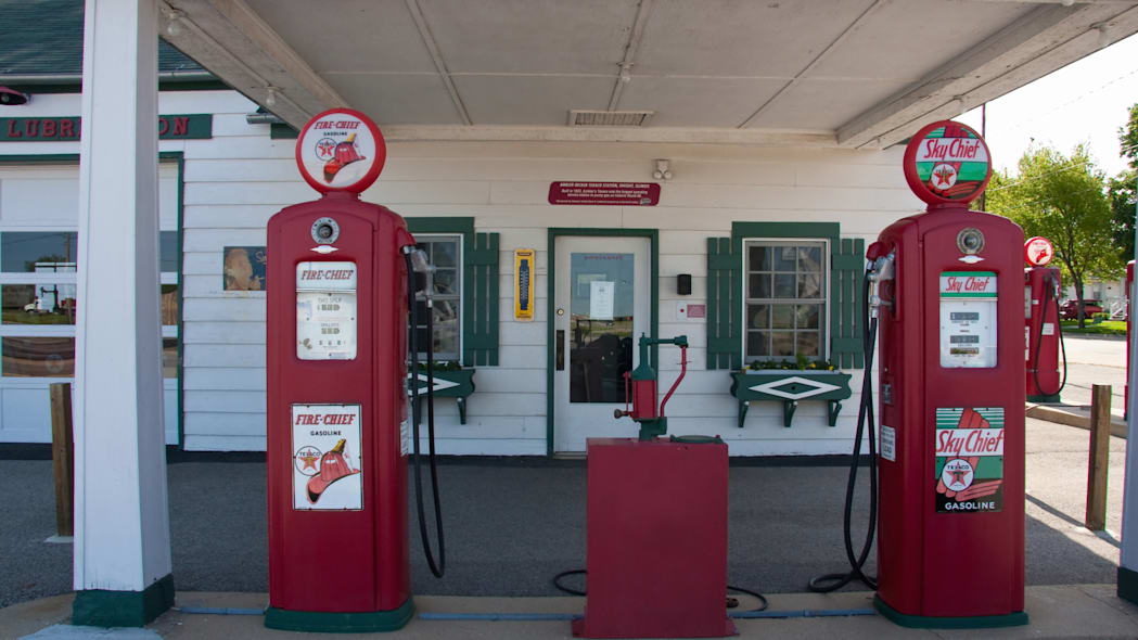 These vintage Texaco Sky Chief gas pumps stand at Ambler's Texaco Gas Station, along Historic Route 66 in Dwight, Illinois, USA