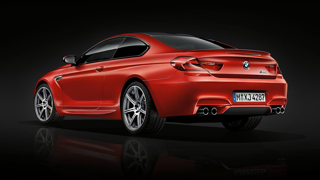 2016 BMW M6 with Competition Package red rear 3/4