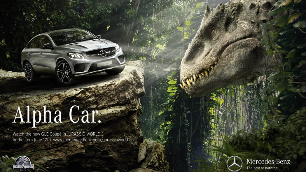 grey mercedes gle-class coupe jurassic world advertisement