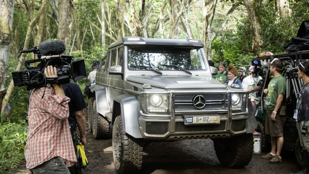 mercedes g63 amy 6x6 on set at jurassic world