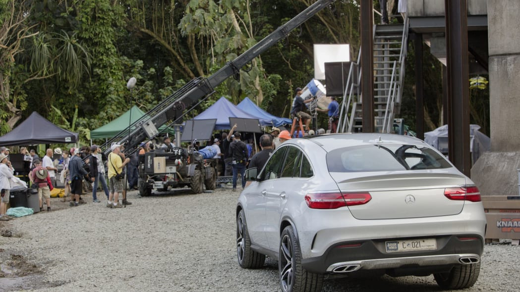 mercedes gle-class coupe shooting on set of jurassic world