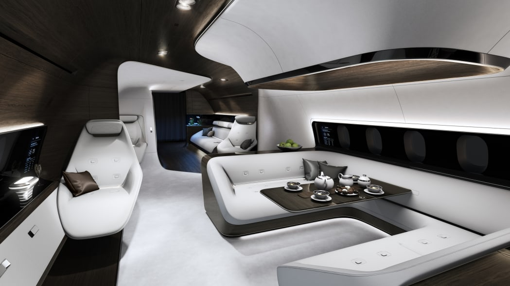 Private jet cabin by Mercedes-Benz Style and Lufthansa Technik