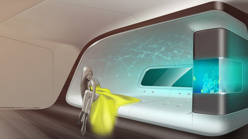 private jet cabin design by Mercedes