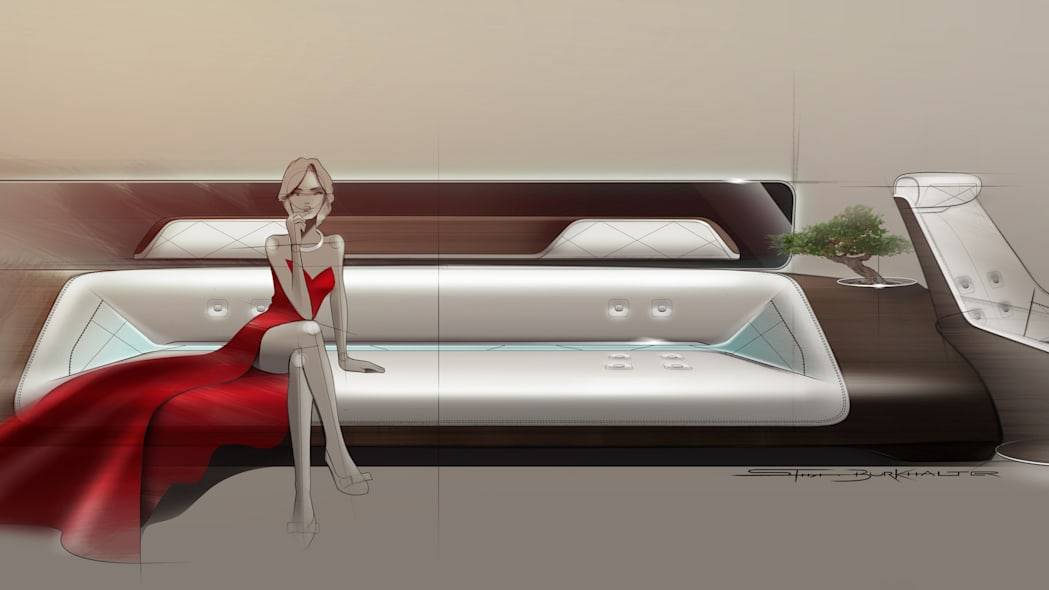 private jet cabin rendering by Mercedes-Benz Style
