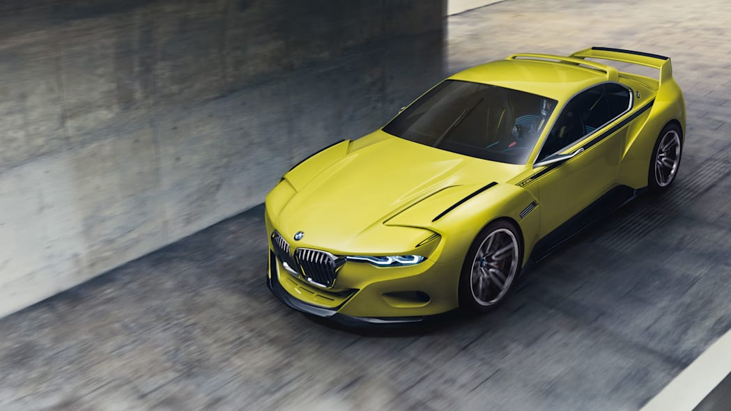 golf yellow bmw 3.0 csl hommage top looking down
