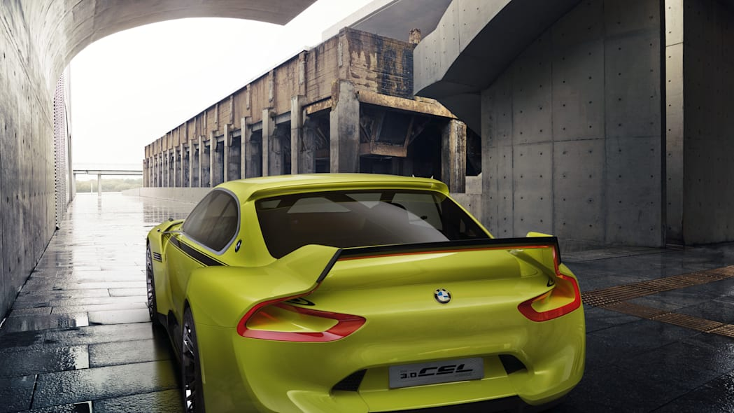 golf yellow bmw 3.0 csl hommage rear wings