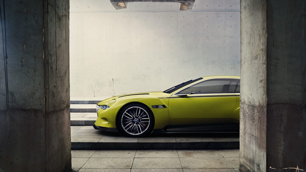 golf yellow bmw 3.0 csl hommage hood and wheels