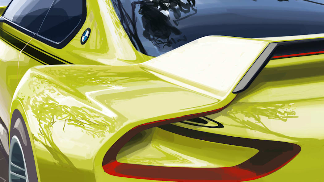 golf yellow bmw 3.0 csl hommage rear wing detail