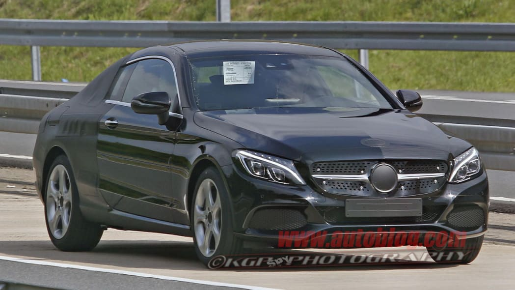 black mercedes-benz c-class coupe spy shot front