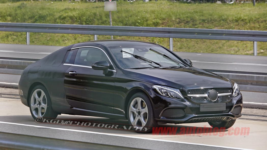 black mercedes-benz c-class coupe spy shot side front