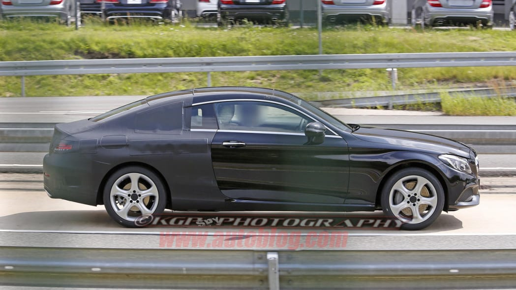 black mercedes-benz c-class coupe spy shot side profile