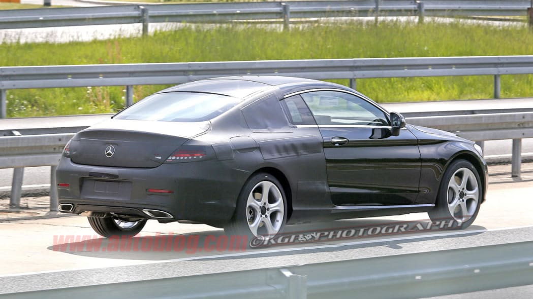black mercedes-benz c-class coupe spy shot back camouflage