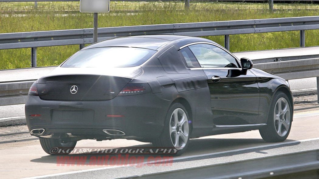 black mercedes-benz c-class coupe spy shot rear camouflage detail