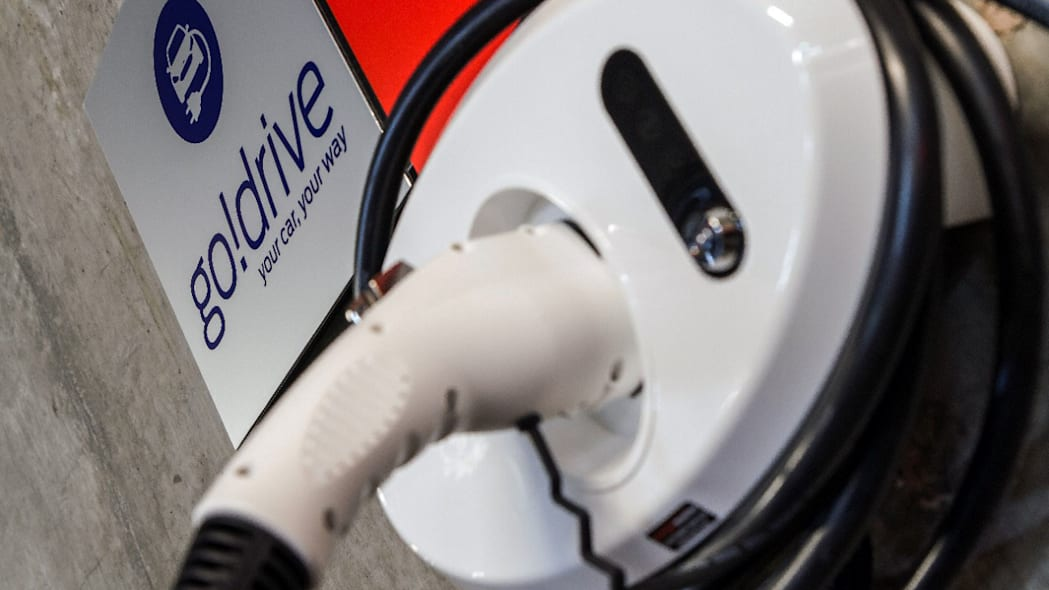 ford godrive carsharing in london charging port