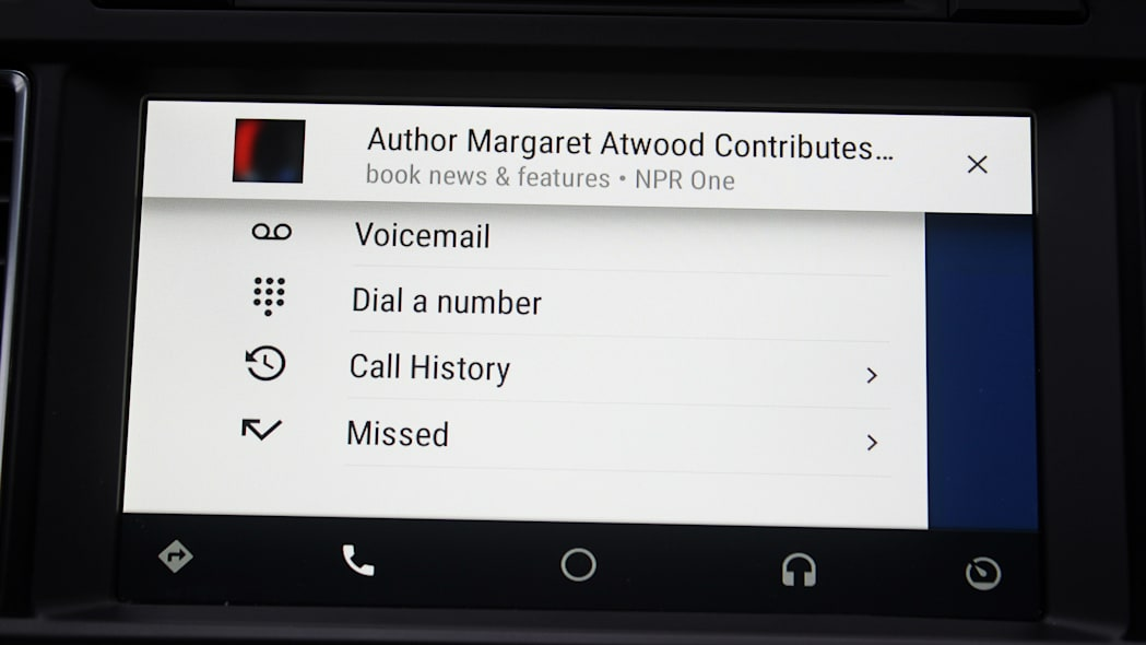 The Phone menu inside Android Auto.
