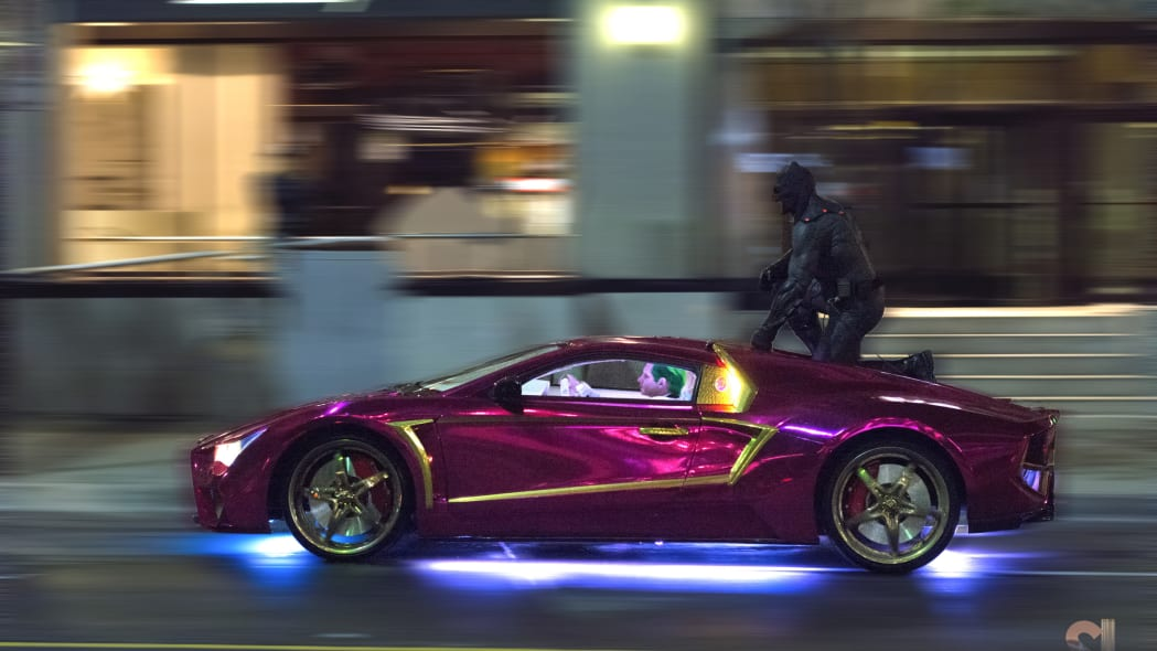 suicide squad jokermobile batman riding jared leto the joker
