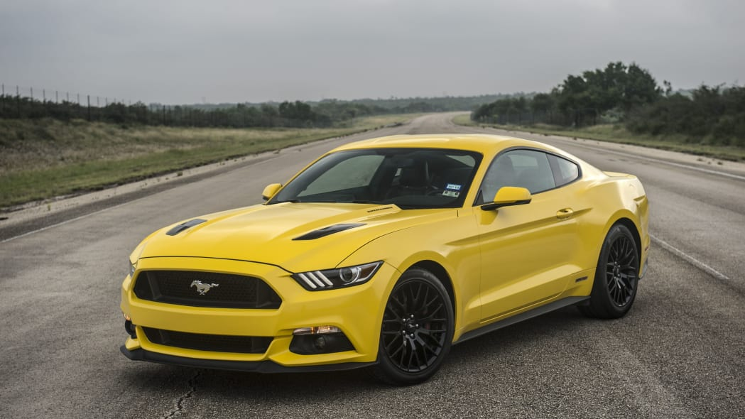 yellow hennessey performance hpe750 mustang