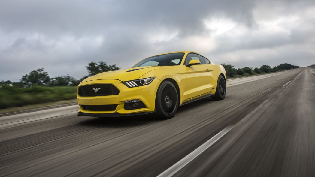 yellow hennessey performance hpe750 mustang hood