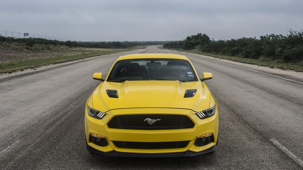 yellow hennessey performance hpe750 mustang front end