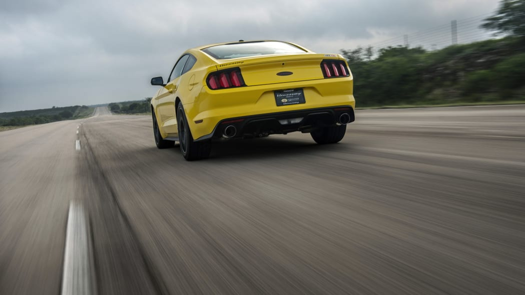yellow hennessey performance hpe750 mustang rear at speed