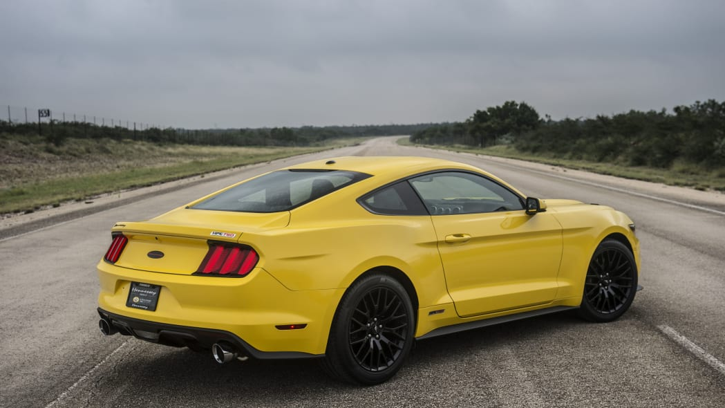 yellow hennessey performance hpe750 mustang rear three quarters