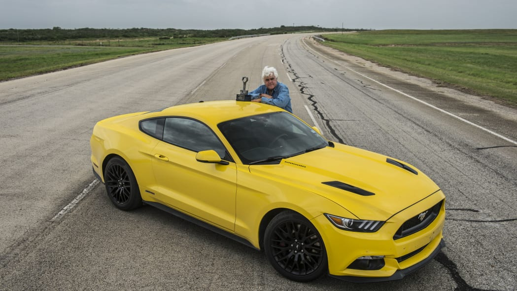 yellow hennessey performance hpe750 mustang with jay leno