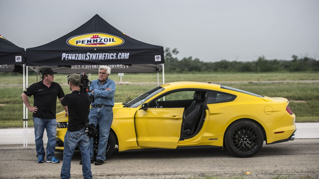yellow hennessey performance hpe750 mustang leno filming