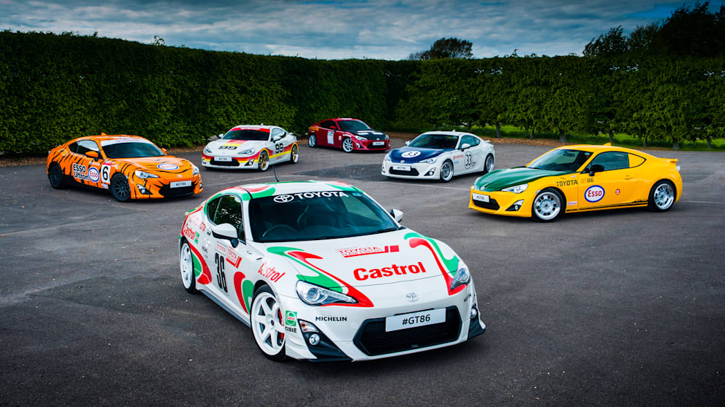 Toyota GT86 in classic liveries group shot