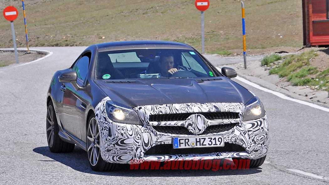 mercedes slc front three quarters camouflaged spy shot